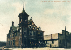 old photograph of Fire Station and city hall
